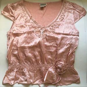 VTG Georgiou Studio Pink Satin Blouse Top Pearls